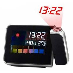 New Digital Weather Projection Snooze Alarm Clock Color Display LED Backlight.