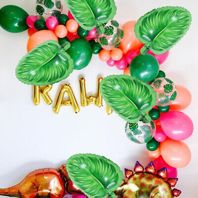 5pcs Tropical Leaf Plastic Balloon Summer Party Hawaiian Palm Tree - Palm Tree Leaf Balloons