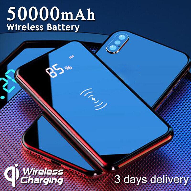 50000mAh Power Bank Qi Wireless Charging Dual USB LED Portab