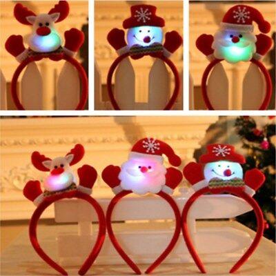 Weihnachtsdekoration Red Lovely Santa Rentier Schneemann Bär LED Licht Stirnband
