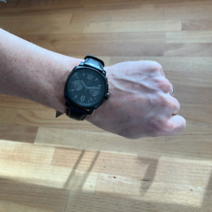 """Men's NIXON Watch- """"Charger Chrono Leather""""-All Black-New in Box"""