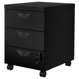 Drawer Metalic unit w 3 drawers on casters, black - BRAND NEW