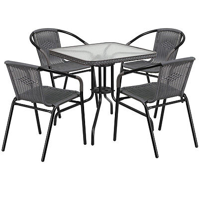 28 Sqaure Indoor-outdoor Restaurant Table Set With 4 Gray Rattan Chairs