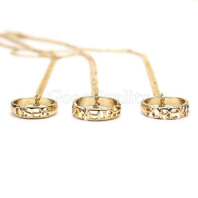 3 Parts BFF Best Friends Forever Gold Circle Rings Pendent Friendship