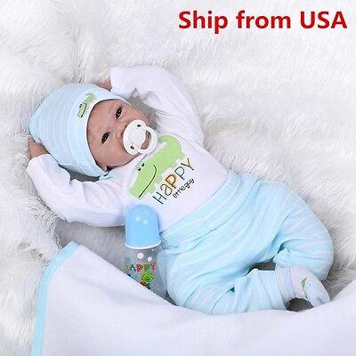 Reborn Toddler Dolls 22'' Handmade Lifelike Baby Boy Solid Silicone Vinyl Doll