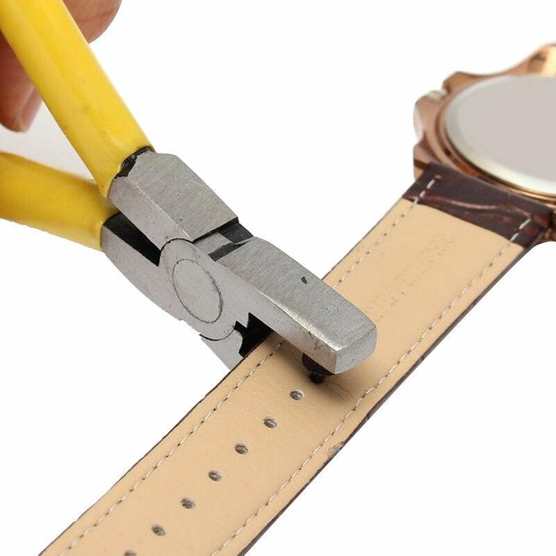 Universal Yellow Hand Leather Strap Watch Band Belt Hole Pli