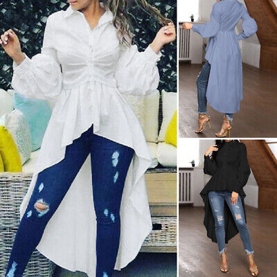 ZANZEA Women Lantern Sleeve Lapel Long Shirt Tops Asymmetrical Swing Blouse Plus
