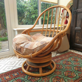 Retro mid century swivel bamboo cane rocking chair vintage