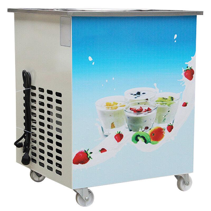 【USA】Single Round Pan Fried Ice Cream Roll Machine Milk Yogurt Ice cream Maker +