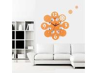 35cm Large Digital Mute Quartz Motion Bubble Orange Wall Clock In outdoor Décor