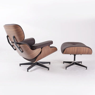 Dark Brown Leather Chair (Eames Lounge Chair & Ottoman Dark Brown Leather, Walnut, Contemporary)