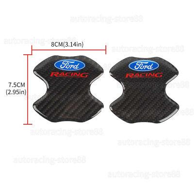 2PCS Ford Racing Carbon Fiber Anti Scratch Emblem Badge Handle Bowl Cover Trim Racing Carbon Fiber