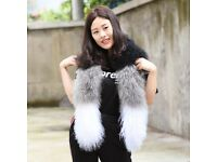 DAYMISFURRY---Black, White And Grey Mongolian lamb Fur Lady Wrap