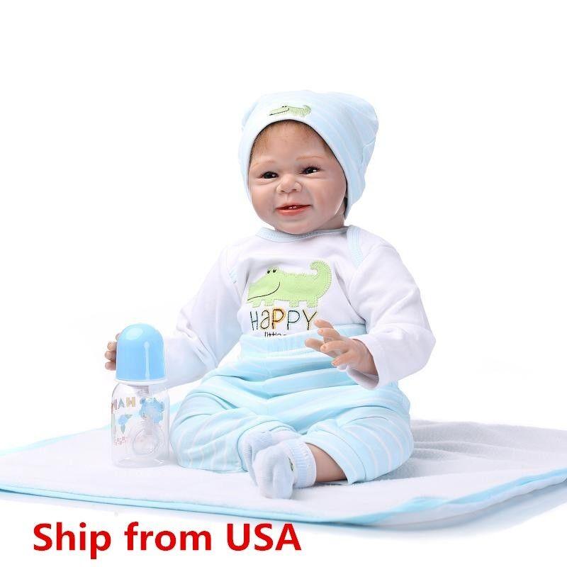 Купить Reborn Toddler Dolls 22'' Handmade Lifelike Baby Solid Silicone Vinyl Boy Doll