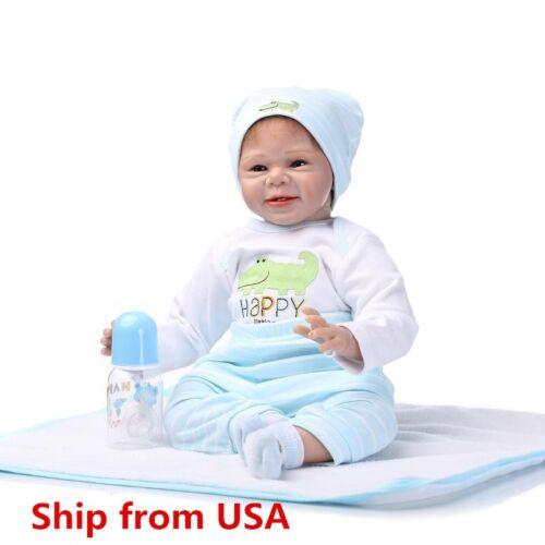 Купить Reborn Toddler Dolls 22'' Handmade Lifelike Baby Boy Solid Silicone Vinyl Doll