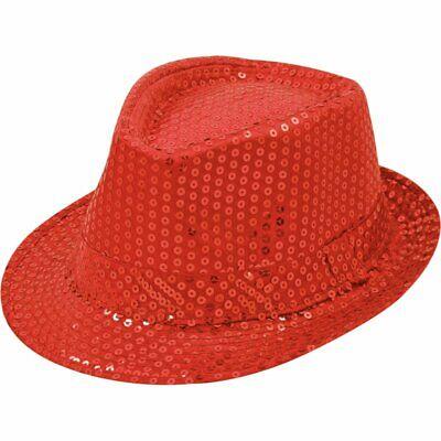 Pailletten Hut Rot Herren Damen Kinder Karneval Fasching Kostüm Trilby - Fedora Hut Kostüm