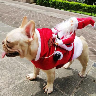 Christmas Santa Claus Pet Dog Fancy Dress Jacket Coat Costume Outfit Clothes NEW ()