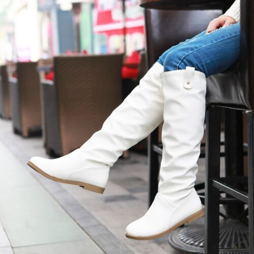 Womens Wedge Heel Platform Pull On Knee High Boot PU Leather 2 Color Shoes Boots