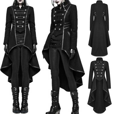 Women Steampunk Military Coat Vintage Gothic Victorian Tailcoat Medieval Jacket - Women's Tailcoat