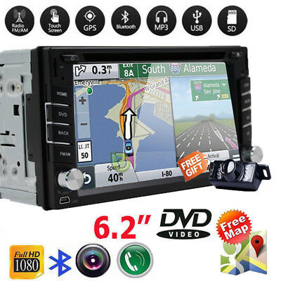 GPS Navigation Double 2Din Car Stereo DVD CD Player Bluetooth Auto Radio +Camera
