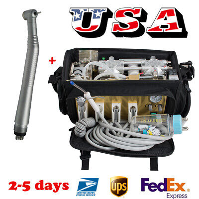 Portable Dental Turbine Unit Bag Pack Compressor Suction Machine With Handpiece