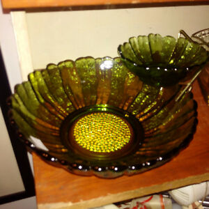 1930s Indiana Glass Chip and Dip Bowl Set Sunflower Pattern