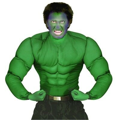 Superhelden Kinder Kostüm Hulk MUSKEL SHIRT GRÜN Sixpack  128 140 158 Muskelhemd