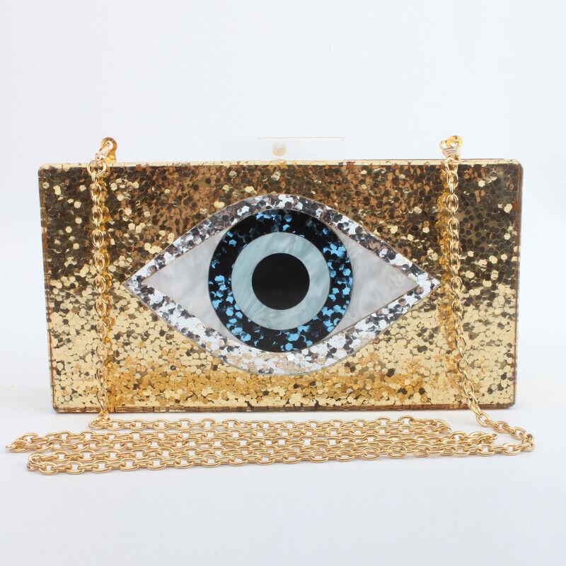 Eyes Print Shiny Evening Clutch Bag For Wedding Party Women