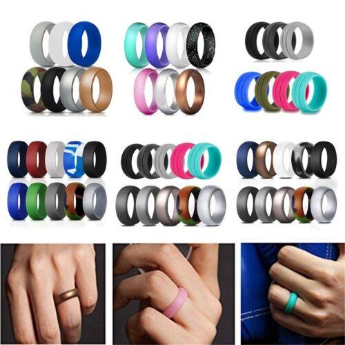 Flexible Silicone Ring Men Women Rubber Wedding Band 7/10 PA