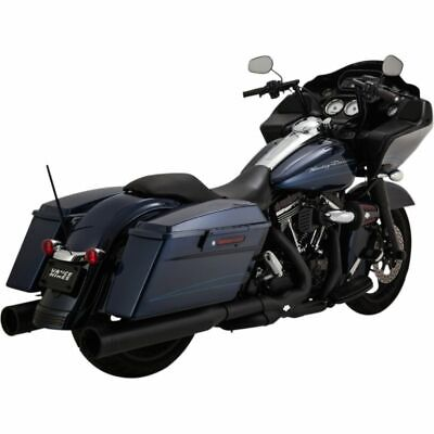 Vance & Hines Matte Black Power Duals Head Pipes for Harley 09-16