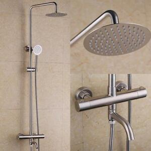 Stainless Steel Brushed Nickel Exposed Thermostatic Shower System with Tub Spout