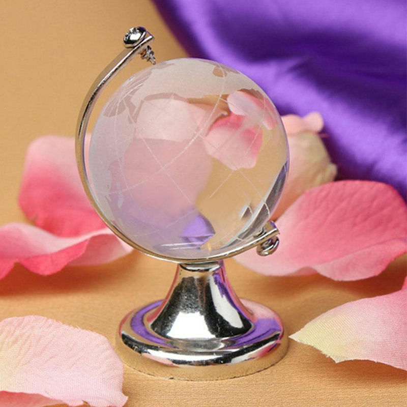 Round Earth Globe World Map Crystal Glass Clear Paperweight Stand Desk Decor K