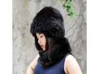 DAYMISFURRY--Knit Silver Fox Fur Hat And Neck Warmer Set In Black