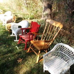 VINTAGE WICKER CHILDS DOLL ROCKING CHAIRS AND CHAIRS