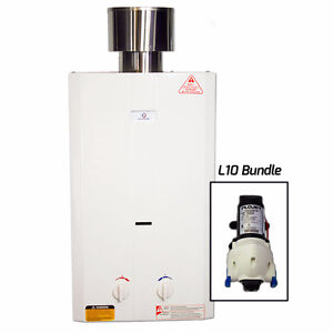 Eccotemp L10 Tankless Water Heater Bundle & 12v Flojet Pump