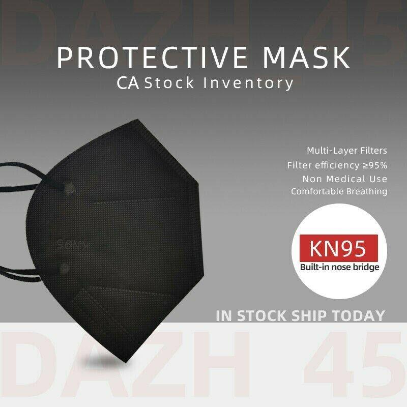 50/100Pcs Black KN95 Face Mask 5 Layer BFE 95% Disposable Respirator CAship