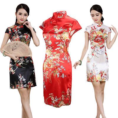 Chinese Short Cheongsam Qipao Vintage Evening Party Mini Fancy Dress Halloween