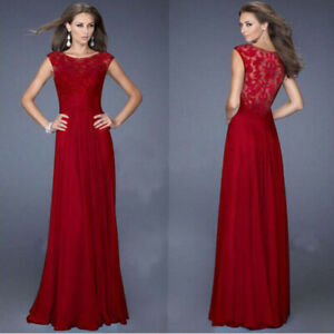 Long Red Chiffon Lace Bodice Evening Formal Gown Dress 8/10 -New