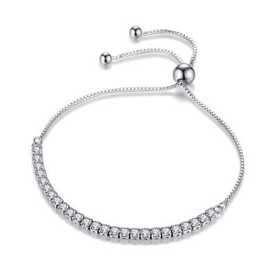 (925 Sterling Silver Austrian Crystal Bead Clasp Bracelet Chain For Charm Women)