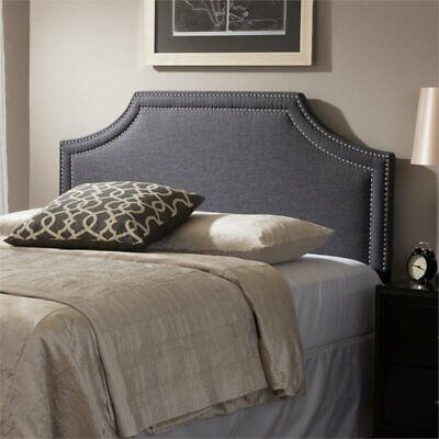 Avignon Upholstered King Headboard in Dark Gray