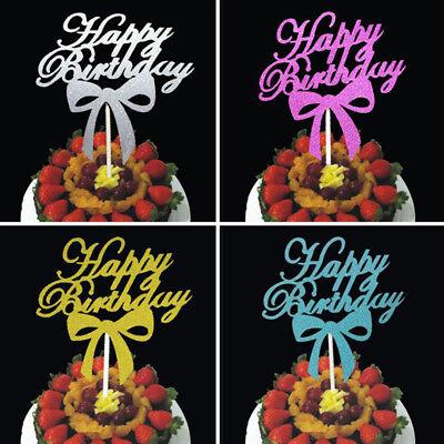 Bowknot Cake Topper Happy Birthday Party Supplies Decor Fashion Practical DIY  (Happy Birthday Fashion)