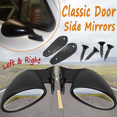 2X Universal Classic Car Door Side Mirror   Gaskets Vintage Black L R Replace D