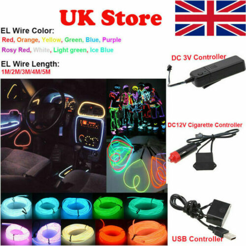 Car Parts - 1/2/3/4/5M LED Car Fairy Atmosphere EL Wire Neon String Strip Light Tube Decor