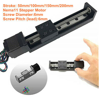 Z Axis Mini Slide Linear Motion 50mm-200mm Travel Nema11 Stepper Motor Cnc Mill