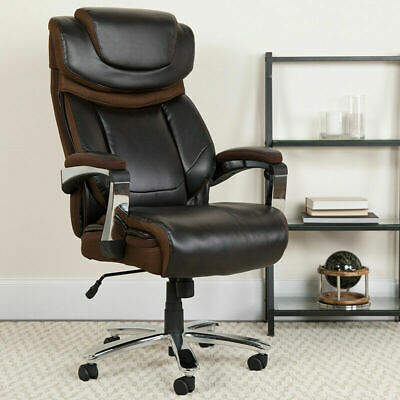 Big Tall 500 Lb Capacity Brown Leather Executive Office Chair Extra Wide Seat
