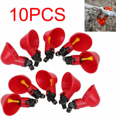 10pc Poultry Water Drinking Cups- Chicken Hen Plastic Automatic Drinker Usa New