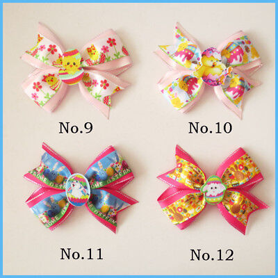 "20 BLESSING Girl 4.5"" Two Tone Wing Hair Bow Clip Easter Rabbit Chicken Egg Baby for sale  Shipping to India"