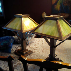 mission oak slag glass lamps Kitchener / Waterloo Kitchener Area image 1