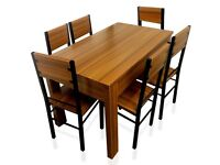 Wood Dining Table and 6 Chairs Furniture Room Set 70£