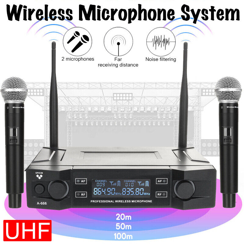 2 Channel UHF Wireless Dual Microphone Mic System Professional Cordless Handheld